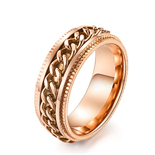 ALEXTINA Men's Stainless Steel 8MM Rose Gold Chain Rings Stress Relief Spinner Ring Size 11