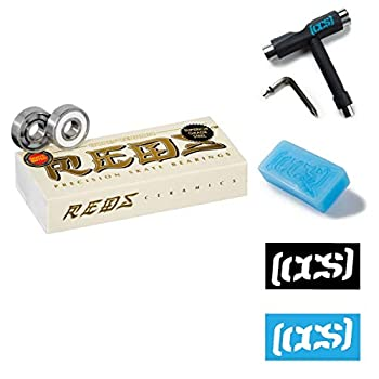 Image of Bearings Bones Ceramic Super Reds 16 Pack - 8mm with CCS Skateboard Tool, Wax, and Stickers