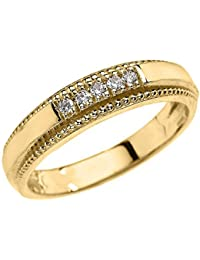 14k yellow gold diamond wedding band ring for men - Gold Wedding Rings For Men