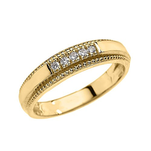 10k Yellow Gold Diamond Wedding Band Ring For Men (Size 7)