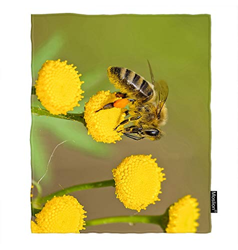 Moslion Bee Blanket Cute Animal Insect Bees on Yellow Flowers Bud Honey Green Leaves Throw Blanket Flannel Home Decorative Soft Cozy Blankets 40x50 Inch for Baby Kids Pet