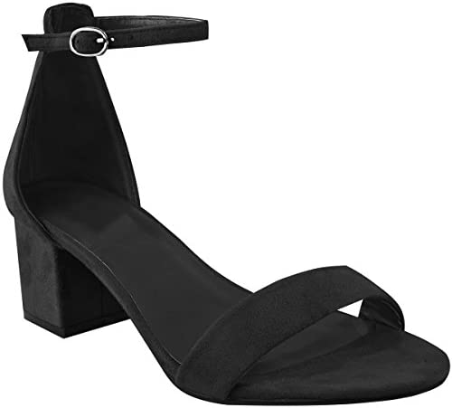 Fashion Thirsty Womens Ladies Low Block Heel Black Sandals