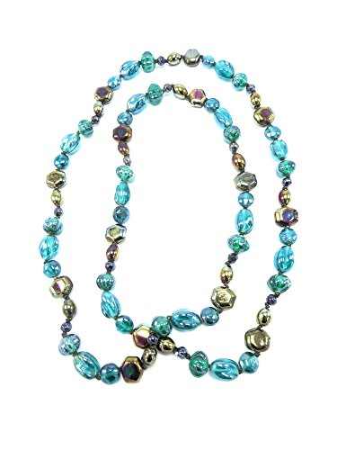 Green Glass Bead Necklace - Beautiful Glass Bead Necklace in Blue Green & Earth Tones