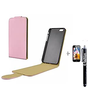 E-fashion Iphone 6 Case,magnetic Open pu leather case for iphone 6 +E-fashion Logo touch screen Stylus Pen-Pink
