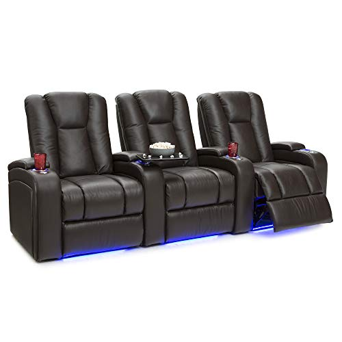 Seatcraft Serenity Leather Home Theater Seating Power Recline with in-Arm Storage, Lighted Cup Holders, and Ambient Base Row of 3, Brown