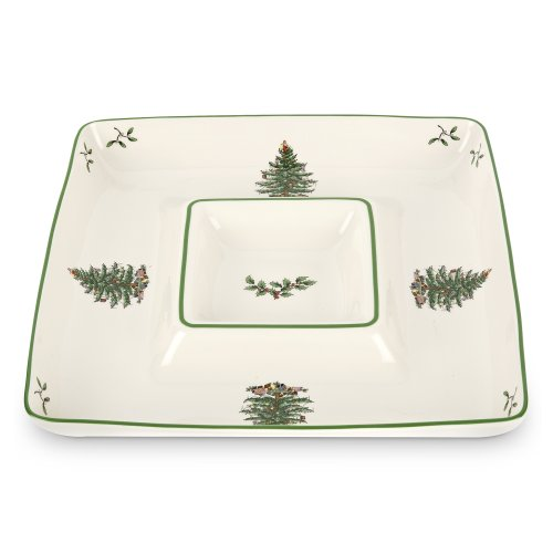 (Spode Christmas Tree Square Chip and Dip)