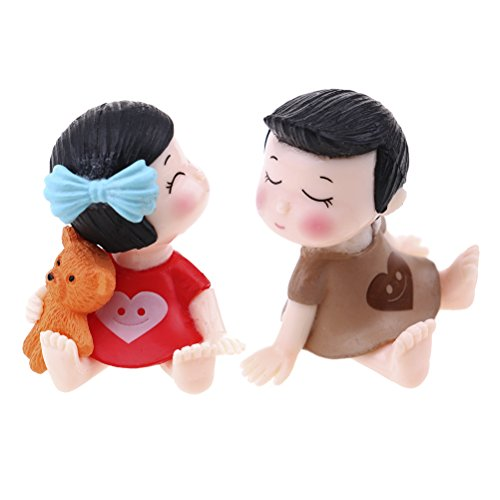 7thLake 1 Pair Sweety Lovers Couple Figurines Miniatures Fairy Garden Crafts Decoration Accessories, Miniature Fairy Garden Decor