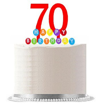 Item070WCD Happy 70th Birthday Party Red Cake Topper Rainbow