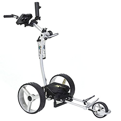 Bat Caddy X4 Classic Electric Golf Push Cart w/Free Accessory Kit, Silver, 35Ah SLA