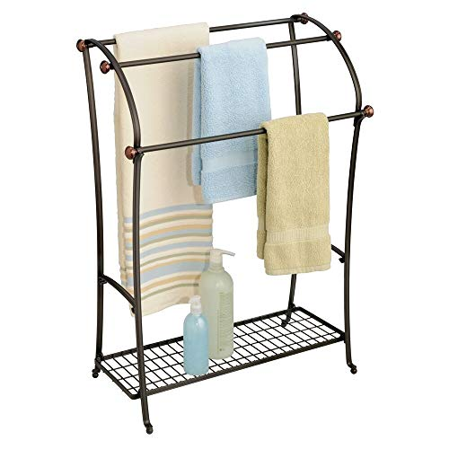 mDesign Large Freestanding Towel Rack Holder with Storage Shelf - 3 Tier Metal Organizer for Bath & Hand Towels, Washcloths, Bathroom Accessories - Bronze/Warm Brown ()