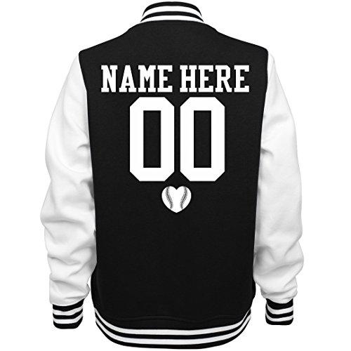 Customized Girl Cute Baseball Girlfriend Name: Ladies Fleece Letterman Varsity Jacket