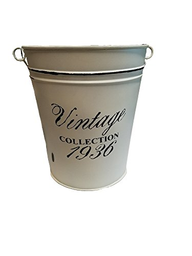 Distressed White Vintage Bath Accessories (Garbage Pail w/Handle) (White Distressed Basket)