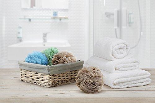 Loofah Bath Sponge XL 70g Set of 6 Spa Colors by À La Paix - Soft Exfoliating Shower Lufa for Silky Skin - Long-Handle Mesh Body Poufs- Men and Women's Luffas - Soft Texture - Full Cleanse & Lather