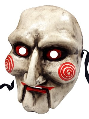 Máscara de cara completa de Jigsaw de Saw, auténtica máscara veneciana, hecha a mano, especial para Halloween: Amazon.es: Hogar