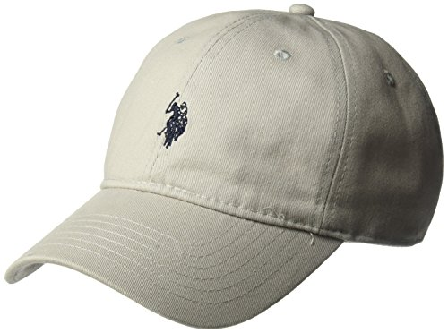 U.S. Polo Assn. Men's Washed Twill Baseball Cap, 100% Cotton, Light Grey, One Size
