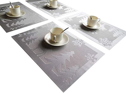 Rimobul Christmas Tree and Reindeer Woven Vinyl Placemats, Set of 4 ()