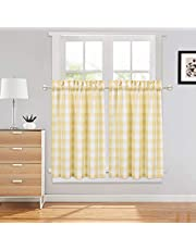 Haperlare Buffalo Check Plaid Gingham Pattern Kitchen Curtains Cafe Curtains