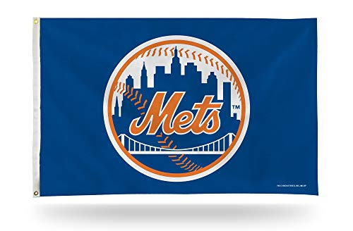 Rico Industries, Inc. New York Mets Blue Round Logo 3x5 Flag w/Grommets Outdoor House Banner - Headband Mets York New