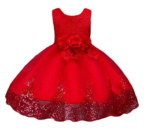 Cruiize Girls Sleeveless Bowknot Swing Mesh Splice Solid Color Princess Tutu Dress Red 14/16 by Cruiize