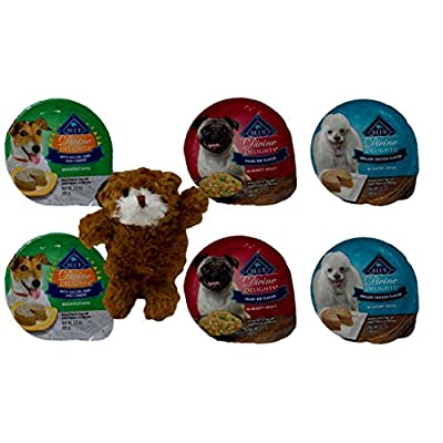 Divine Delights Natural Food for Small Breed Dogs 3 Flavor Variety 6 Can with Toy Bundle, 2 Each: Bacon Egg Cheese, Prime Rib, Grilled Chicken (3.5 Ounces)