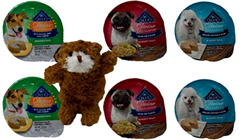 (Divine Delights Natural Food for Small Breed Dogs 3 Flavor Variety 6 Can with Toy Bundle, 2 Each: Bacon Egg Cheese, Prime Rib, Grilled Chicken (3.5 Ounces))