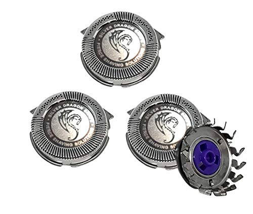 HQ8 Compatible Replacement Heads Silver Dragon Edition 3-Pack Suitable for Philips Norelco Electric Shavers Models (3) …