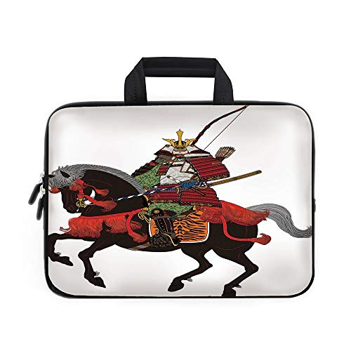 - Japanese Laptop Carrying Bag Sleeve,Neoprene Sleeve Case/Shogun Wearing Armour with Arrow on Prancing Horse Courage Warfare Illustration/for Apple Macbook Air Samsung Google Acer HP DELL Lenovo AsusBr