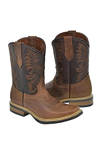 Texas Legacy - Men's Tan Saddle Style Leather Cowboy Boots Rubber Sole Rodeo Toe 11 E (Boot Rodeo Style)