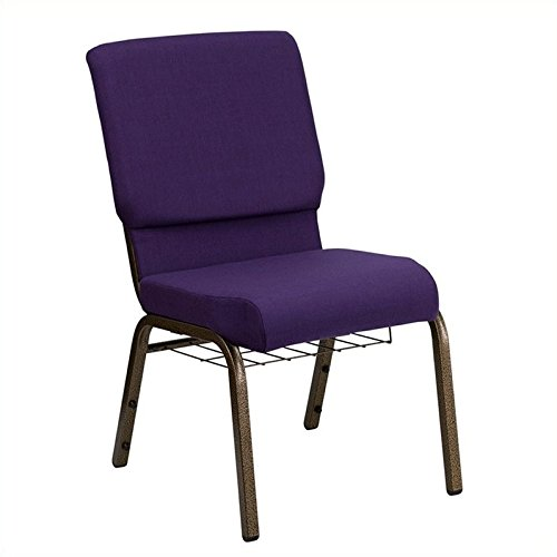 - Flash Furniture HERCULES Series 18.5''W Church Chair in Royal Purple Fabric with Cup Book Rack - Gold Vein Frame
