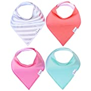 """Baby Bandana Drool Bibs for Drooling and Teething 4 Pack Gift Set For Girls """"Jewel Set"""" by Copper Pearl"""