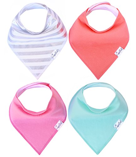 "Baby Bandana Drool Bibs for Drooling and Teething 4 Pack Gift Set For Girls ""Jewel Set"" by Copper Pearl"