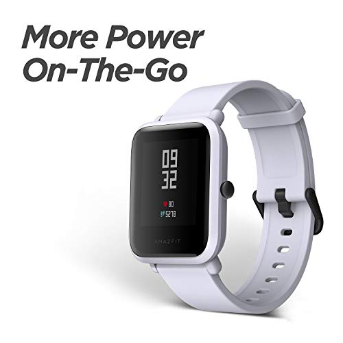 Amazfit BIP smartwatch by Huami with all-day heart rate & activity tracking, sleep monitoring, GPS, 30-day battery life, Bluetooth (White Cloud), One Size