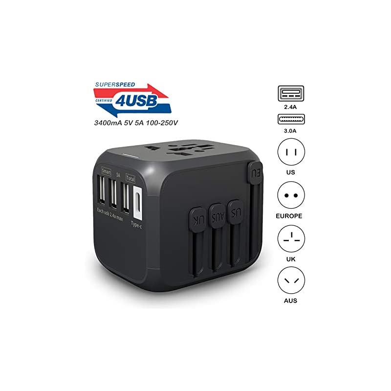International Travel Adapter with Auto R