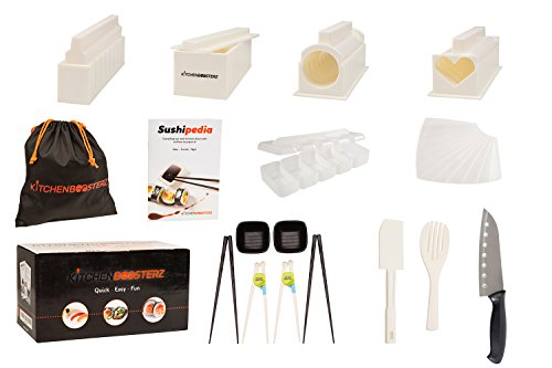 Sushi Making Kit - DIY Beginner Set - 10 Shape Molds, 3 Types - Maki rolls, Temaki, Nigiri, Knife, Spatula, Chopsticks, Sauce Dishes, Storage Bag & Sushi Maker Guide Book - White - by KitchenBoosterz Triangle Shaped Bowl