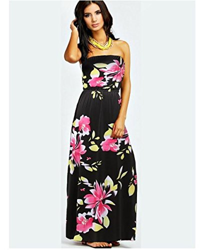 B30 Off Shoulder Printed Floral Elastic Maxi Dresses Women Long Black strapless. (L) (Printed Dress Form compare prices)