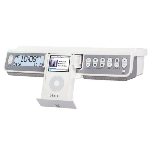 iHome IH36 Under-Counter FM Radio with TV, Weather Band Tuner, and Dock for iPod (White) by Sound Design