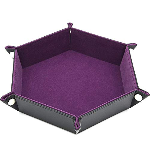 VWH PU Leather Folding Hexagon Rectangle Tray for RPG DND