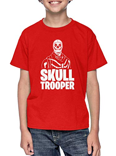 Skull Trooper - Video Game Just Build Youth T-Shirt (Red, X-Small)