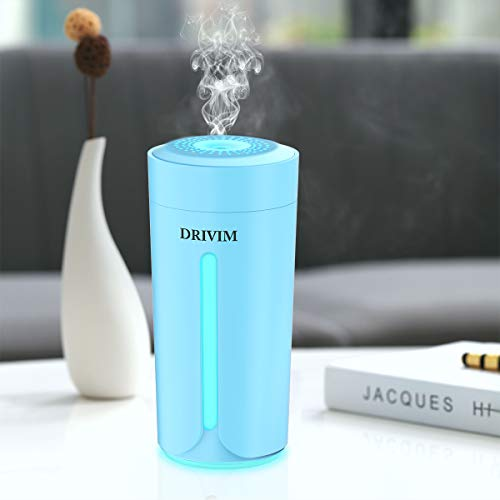 DRIVIM Mini Humidifier, USB Car Humidifier Air Purifier Refresher with 8 Color Night Lights & 230ml Large Tank & 3 Filters, Noise-Free Desktop Cup Humidifier for Plant, Travel, Office, Bedroom (Blue)