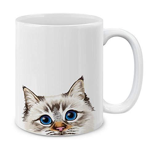 MUGBREW Seal Lilac Tabby Point Birman Cat Ceramic Coffee Gift Mug Tea Cup, 11 OZ