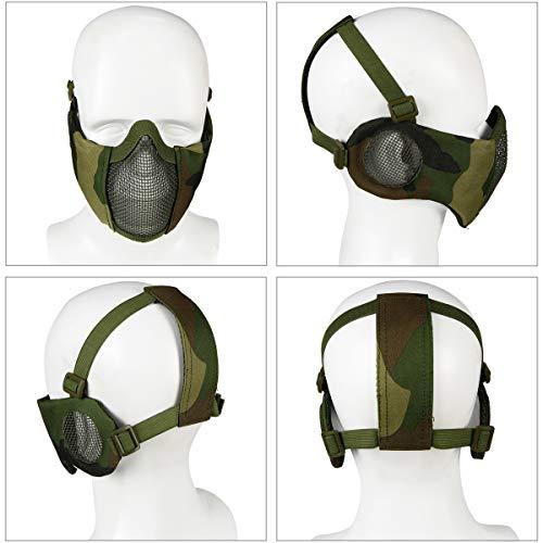 Masque Pliable Airsoft Mesh avec Protection Oreille et Casquette de Baseball Réglable Set pour CS/Chasse/Paintball/Tir 2