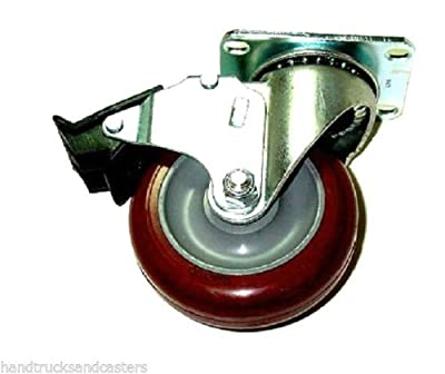 "Swivel Caster 3-1/2""x1-1/4"" Poly Wheel 2-1/2""x3-5/8"" Plate w Total Lock Brake"