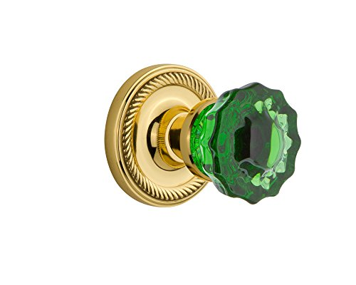 - Nostalgic Warehouse 721083 Rope Rosette Passage Crystal Emerald Glass Door Knob in Unlaquered Brass, 2.375