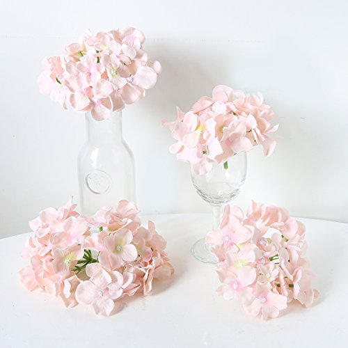 Veryhome Blooming Silk Hydrangea Flower Heads for DIY Bouquets,Wedding Centerpieces,Home Decor (pink),12pcs