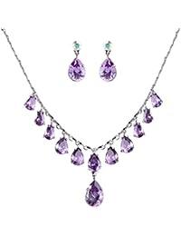 Women's Full Prong Cubic Zirconia Dangling Teardrop Bridal Necklace Earrings Set