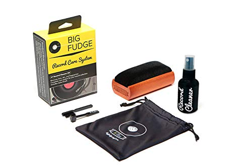 Products Fudge - #1 Record Cleaner Kit - Complete 4-in-1 Vinyl Cleaning Solution, Includes Velvet Record Brush, XL Cleaning Liquid, Stylus Brush and Travel Pouch! Will NOT Scratch Your Records!
