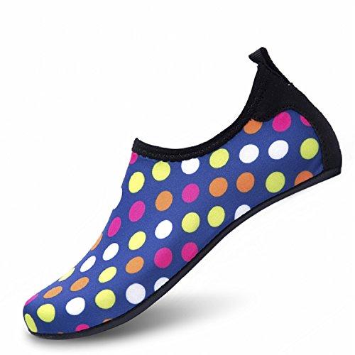 LK LEKUNI Unisex Zapatos de Agua de Natación Calzado de Secado Rápido Respirable Soles de Color Zapatos de Agua Piscina Playa Dd_red