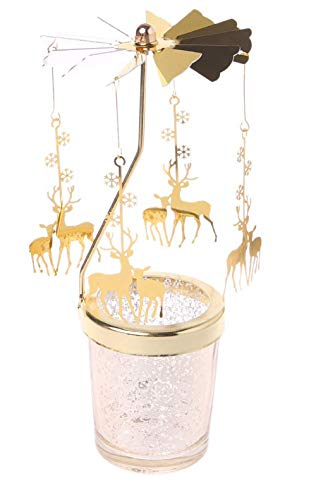 JINGz Family Holiday Gold Wrought Iron Heat Wind Rotating Candleholder Christmas Romantic Wedding and Table Decoration (2 Deers)