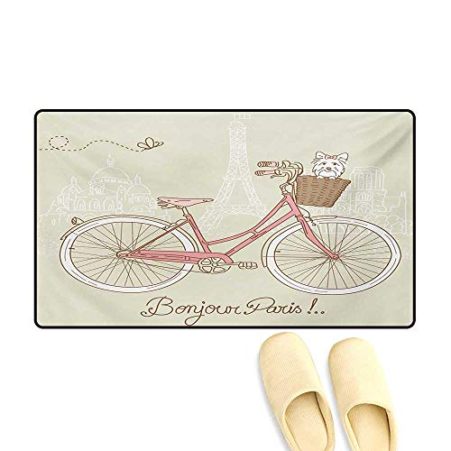 - Doormat,Romantic Postcard from Paris Pattern Dog in Basket of The Bicycle Illustration,Bath Mat for Tub,Egg Shell and Coral,24
