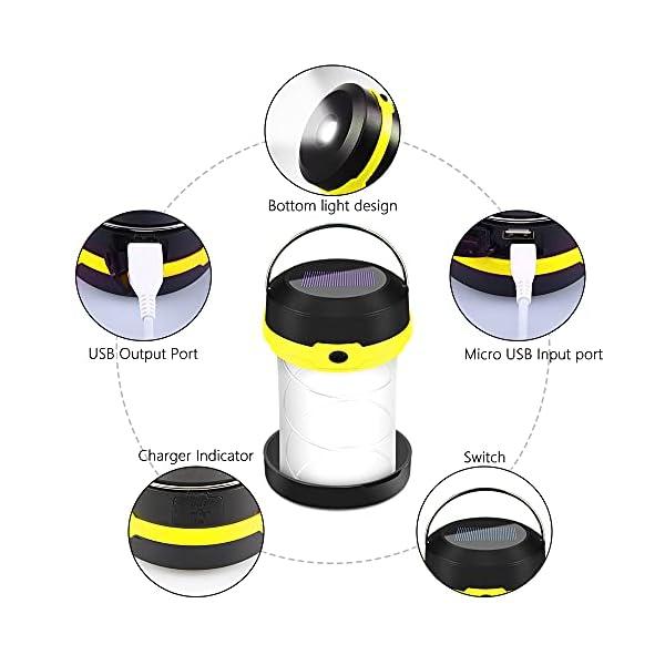 41WWSsPTEcS Molbory Camping Laterne Taschenlampe Zusammenklappbar, 2 Lademethoden Solar und USB mit 3 Lichtmod Faltbare Camping…